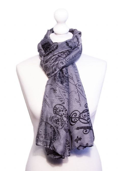 Believe -  Large Silky Touch Paris inspired Print Scarf  (Grey/Black)